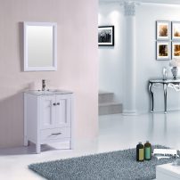 """TVN299 24WH A 01 202x202 - Totti Shaker 24"""" Transitional White Bathroom Vanity with White Carrera Countertop"""