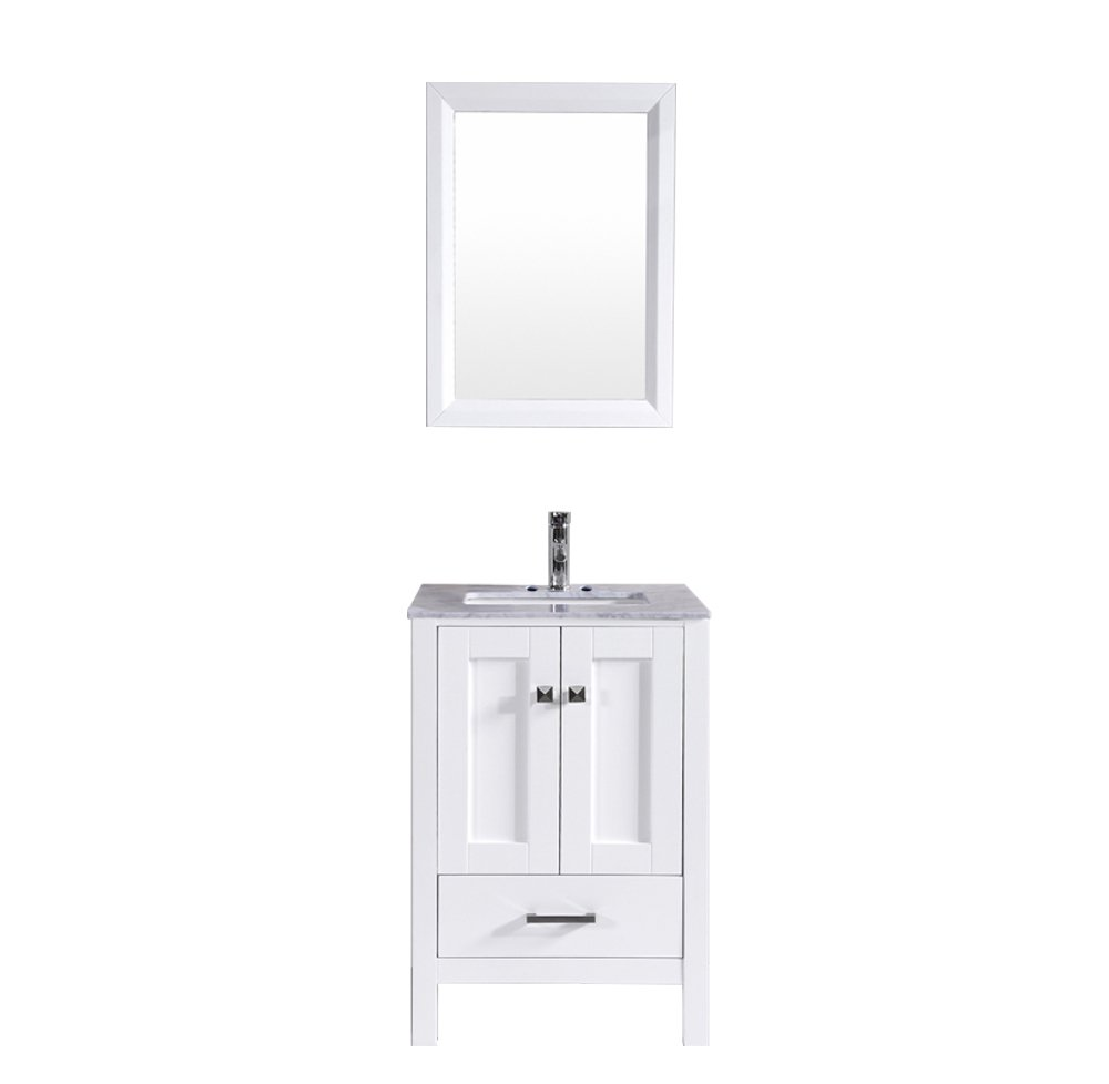 """TVN299 24WH A Main - Totti Shaker 24"""" Transitional White Bathroom Vanity with White Carrera Countertop"""