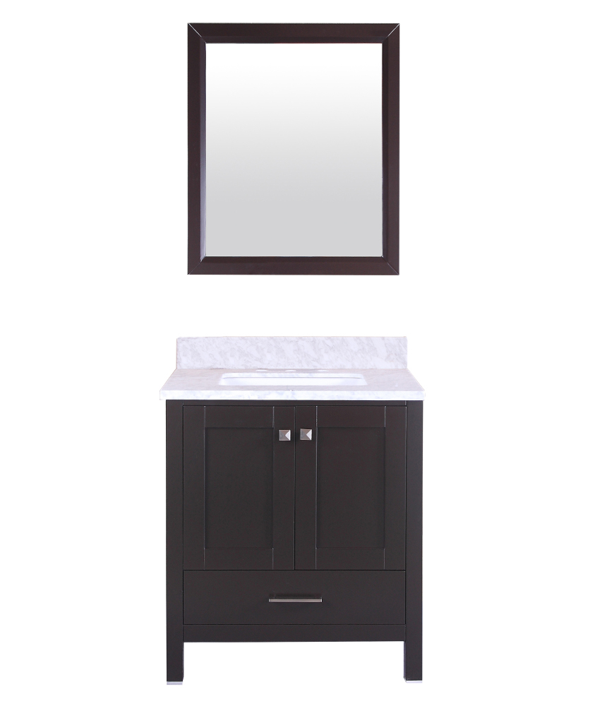 "TVN299 30ES A Main - Totti Shaker 30"" Transitional Espresso Bathroom Vanity with White Carrera Countertop"