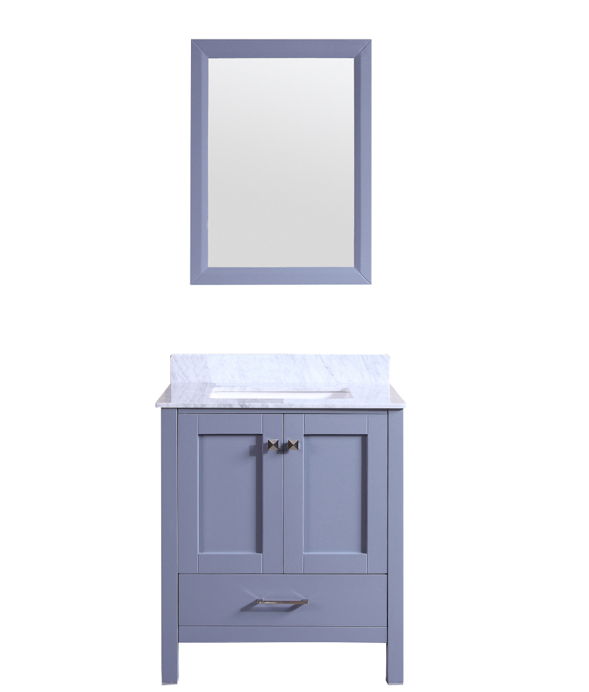 """TVN299 30GR A Main - Totti Shaker 30"""" Transitional Grey Bathroom Vanity with White Carrera Countertop"""