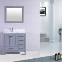 """TVN299 36GR A 01 202x202 - Totti Shaker 36"""" Transitional Grey Bathroom Vanity with White Carrera Countertop &  Square Sink"""
