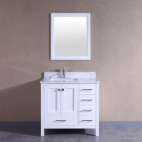 """TVN299 36WH A 01 202x202 - Totti Shaker 36"""" Transitional White Bathroom Vanity with White Carrera Countertop"""