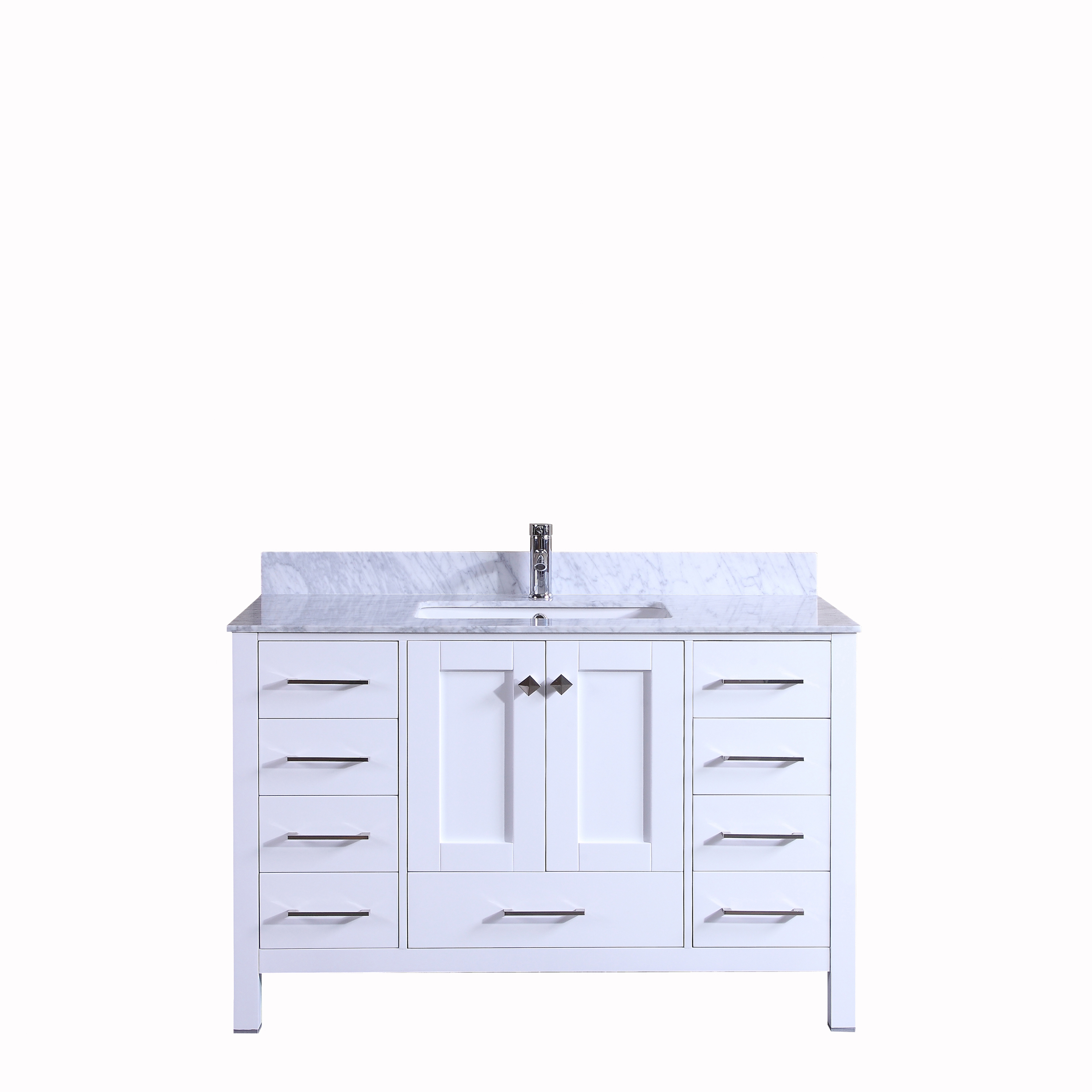 Totti Shaker 48 Transitional White Bathroom Vanity With White