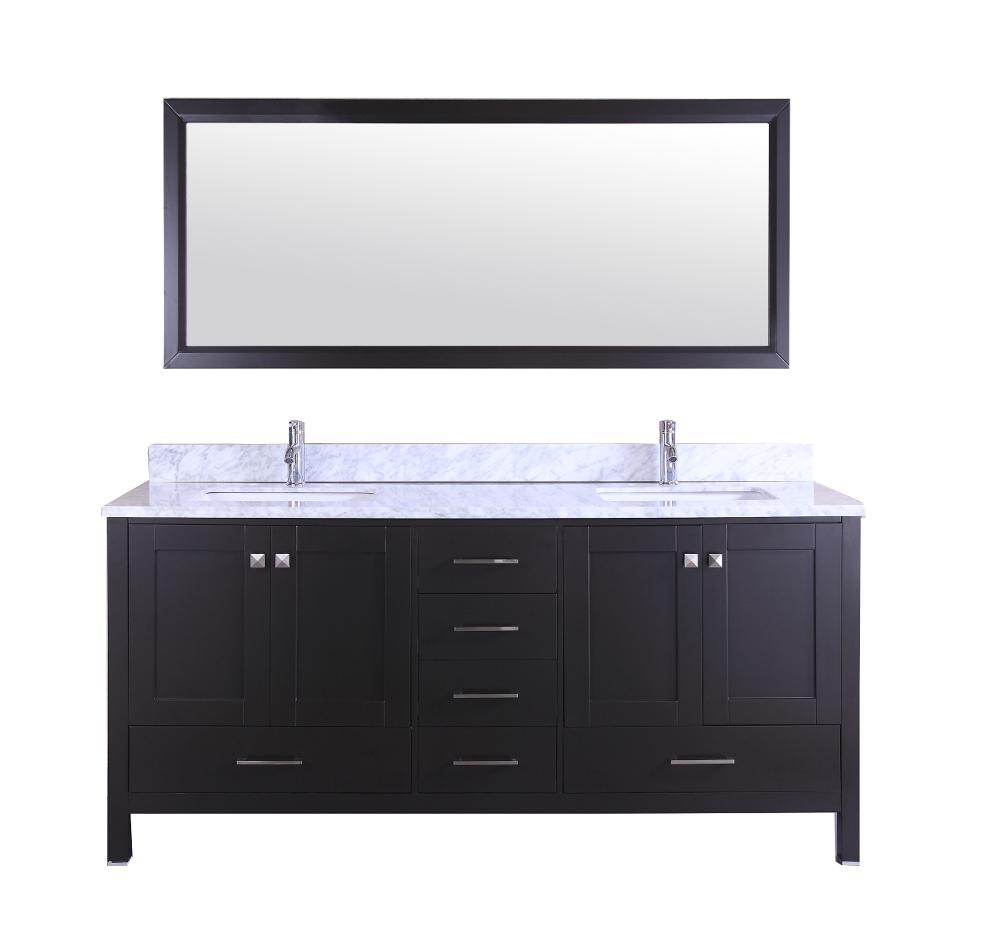 Totti Shaker 72″ Transitional Espresso Bathroom Vanity With White Carrera  Countertop