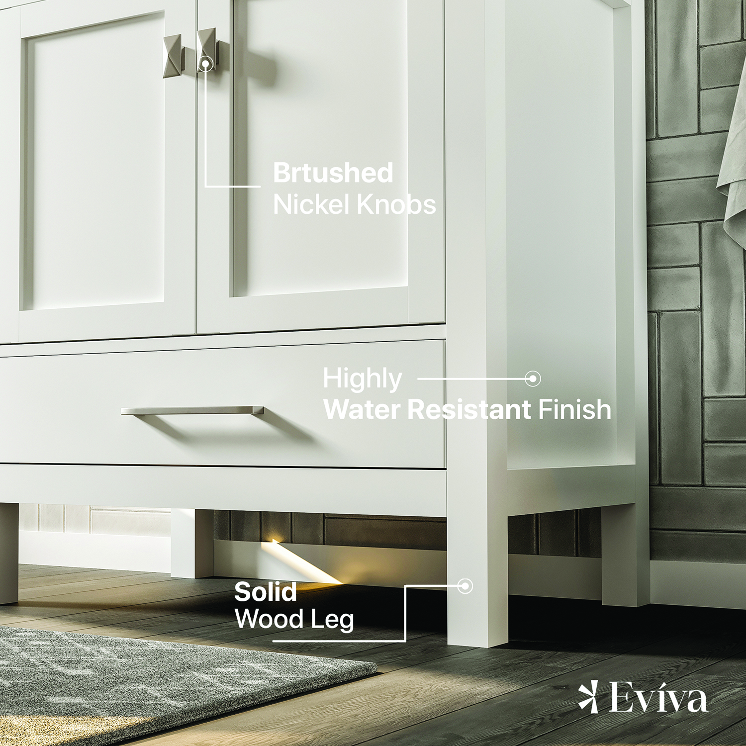 Eviva London 24 Quot Transitional White Bathroom Vanity With