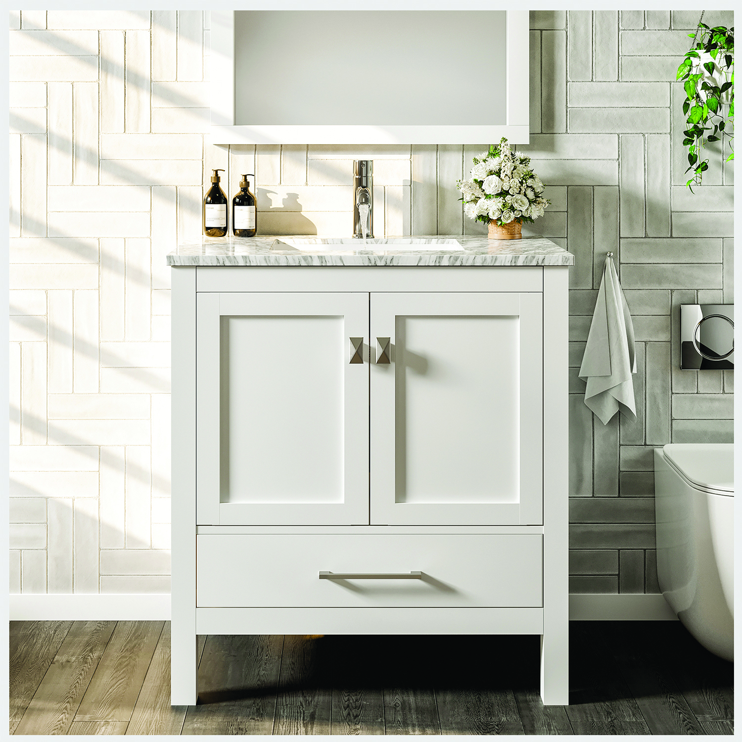 Eviva London 24 Transitional White Bathroom Vanity With White Carrara Marble Countertop