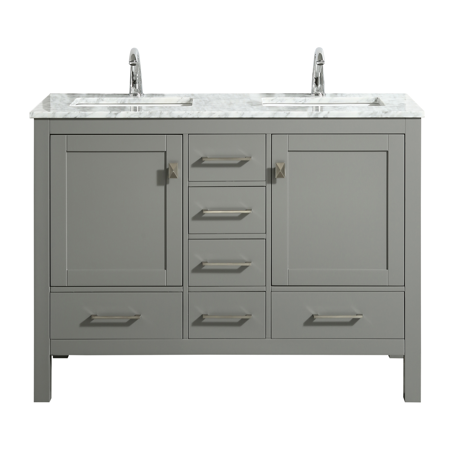Eviva London 48 X 18 Transitional Gray Bathroom Vanity With White Carrara Marble And Double Porcelain Sinks