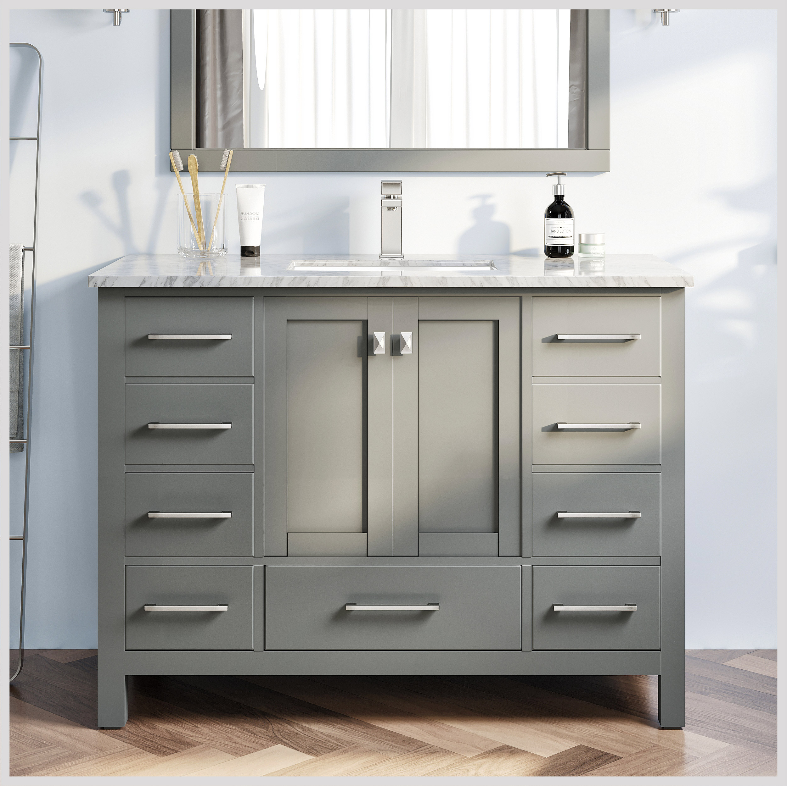 Eviva London 48 Transitional Grey Bathroom Vanity With White