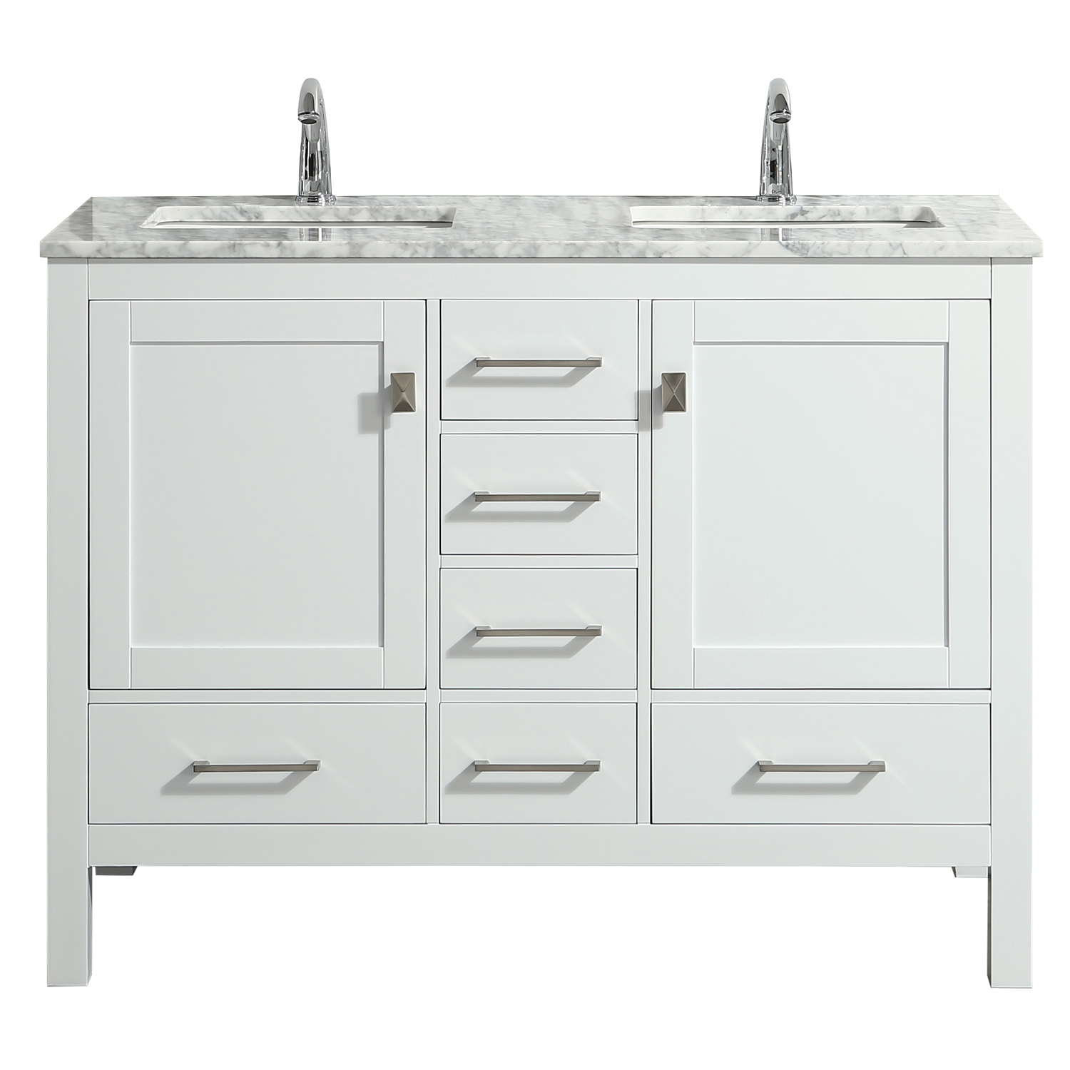 Eviva London 48 X 18 Transitional White Bathroom Vanity With Carrara Marble And Double Porcelain Sinks