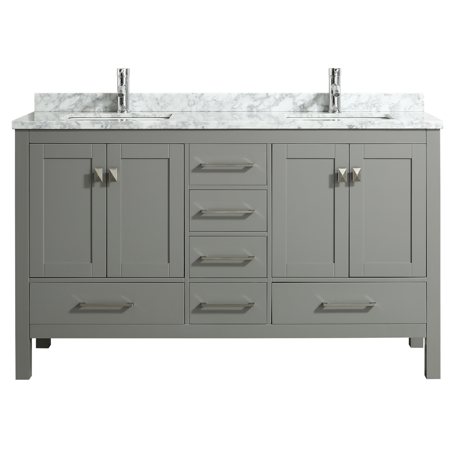 . Eviva London 60  X 18  Transitional Gray bathroom vanity with white Carrara  marble and double Porcelain Sinks