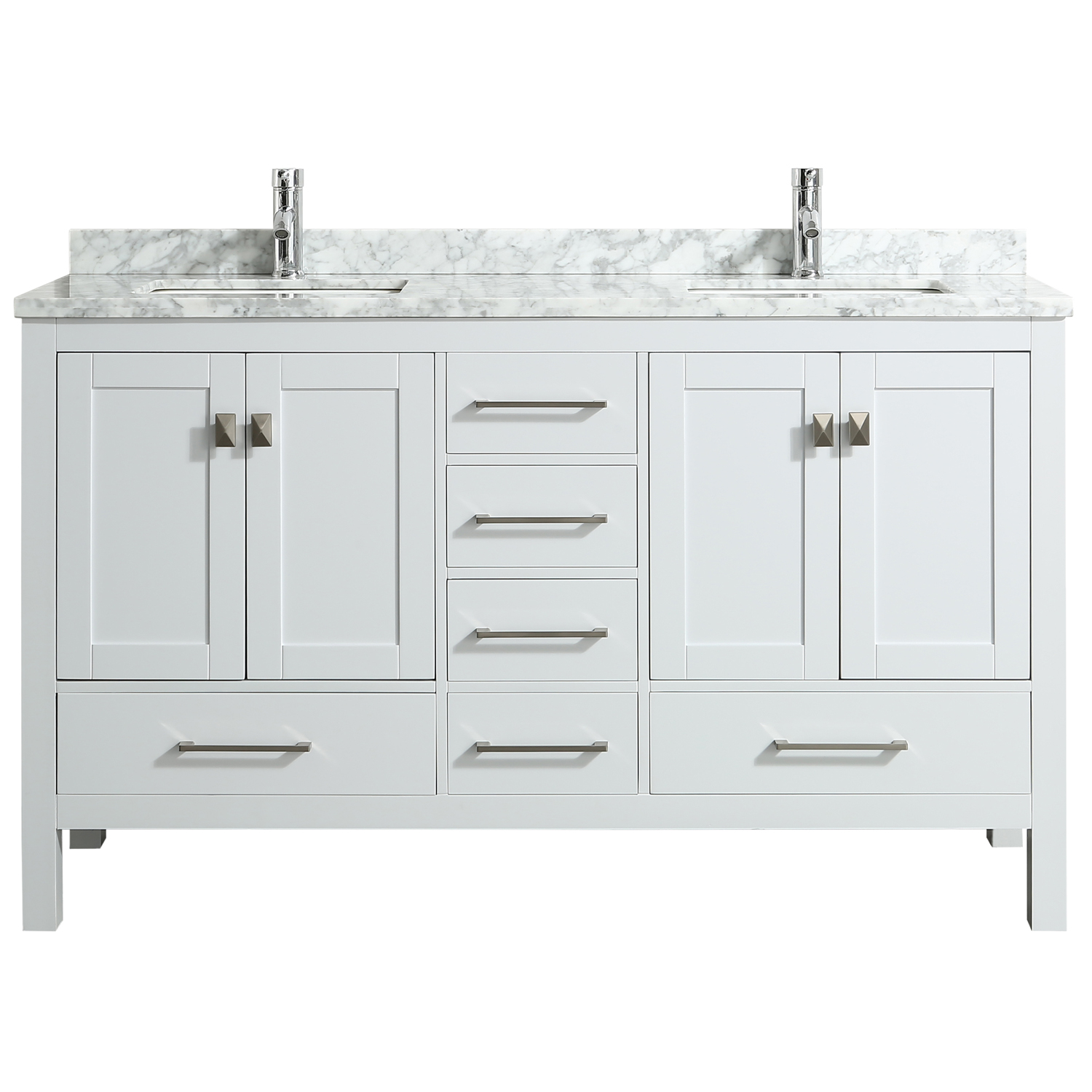 "Eviva London 60"" X 18"" Transitional White bathroom vanity ..."