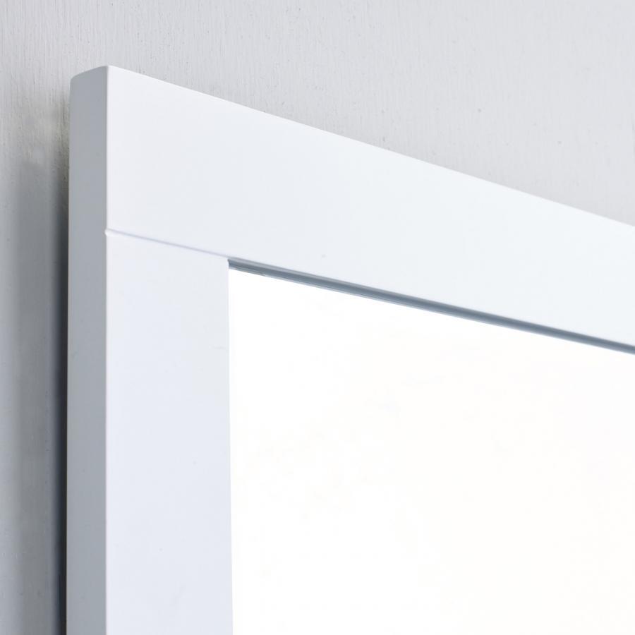 "eviva aberdeen 36"" white framed bathroom wall mirror"