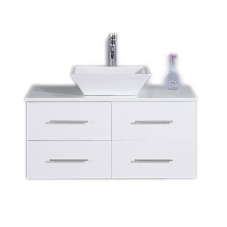 Totti Wave 36-Inch White Modern Bathroom Vanity With Counter-Top And Sink